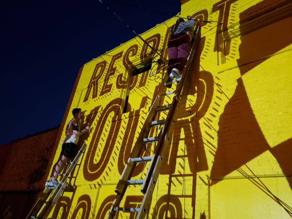 Tracing the Mural at night