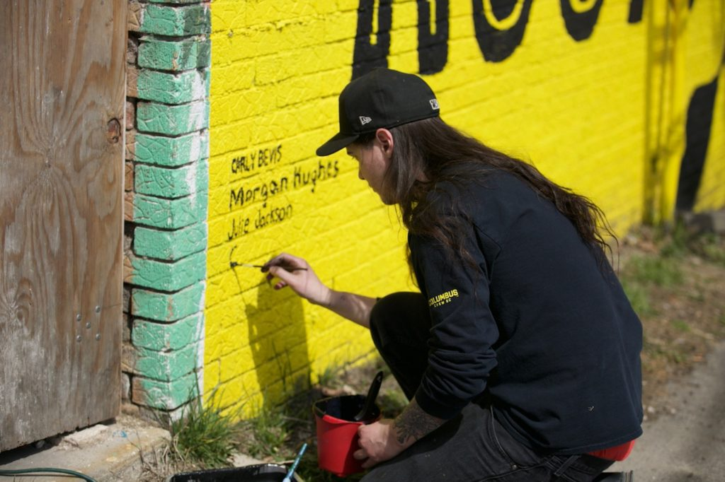 Signing the Mural